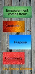 Three things that will help you get empowered in your life. 1. Gratitude, 2. Purpose, 3. Community. plus a Jim Rohn quote.